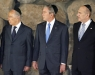 Peres, Bush and Olmert at Yad Vashem, Jerusalem