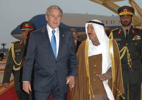 Bush arriving in Kuwait City - 01-11-08