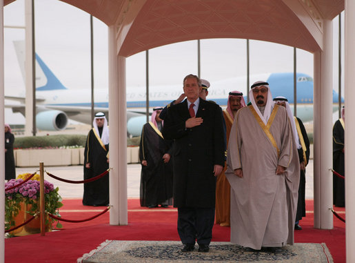 Bush arrival in Riyadh, Saudi Arabia