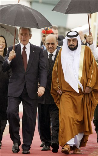 Bush walks with United Arab Emirates President  - -01-13-08