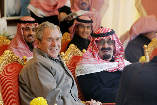 Bush at King Abdullah\'s  Al Janadriyah Ranch in Saudi Arabia -01-15-08