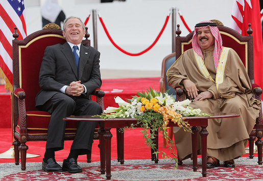 Bush arrival ceremony at Sakhir Palace, Manama, Bahrian - -01-13-08